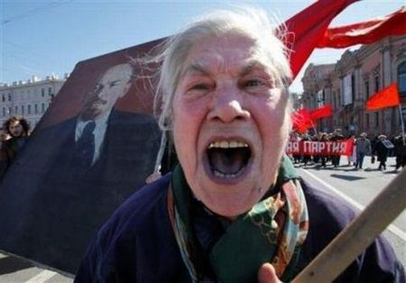 Communist Old Lady at May Day celebration