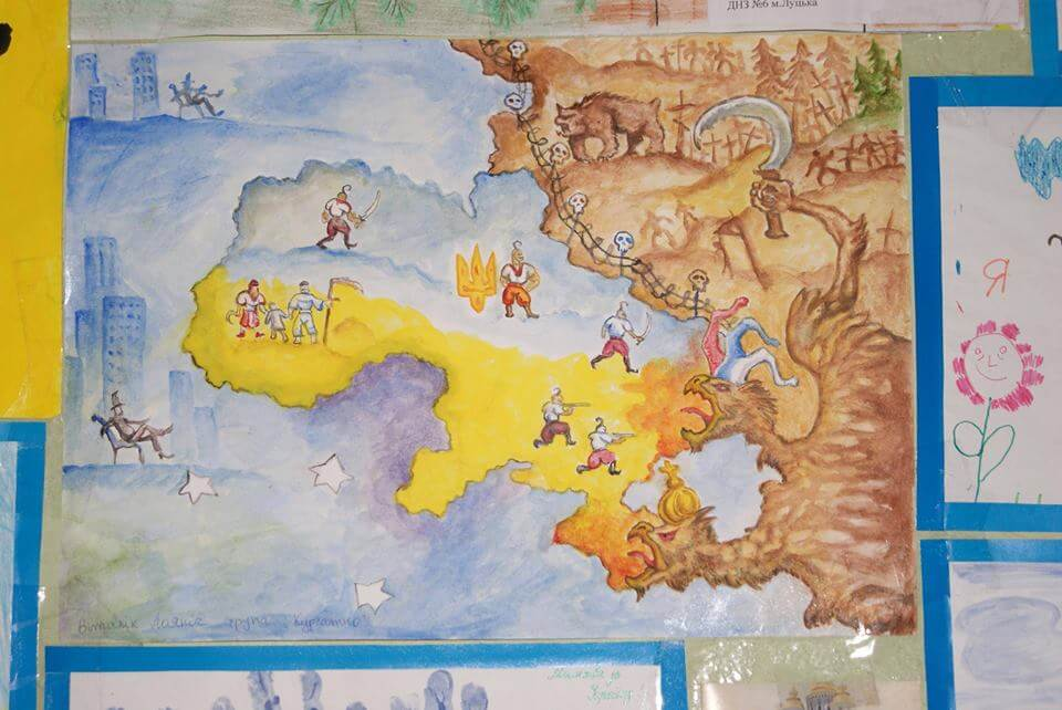 Ukraine-Russia-child-painting